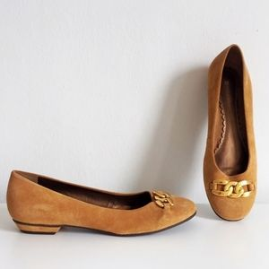 Naturalizer Brown Gold Chain Suede Square Toe Flat